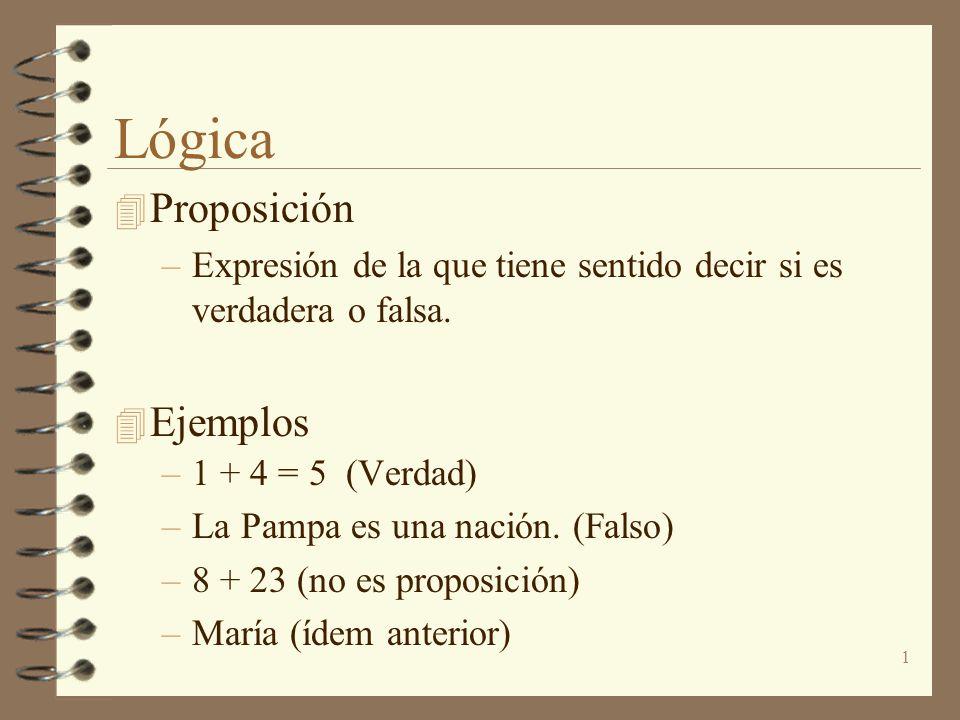 Lógica Proposición Ejemplos