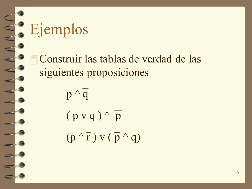 Ejemplos Construir las tablas de verdad de las siguientes proposiciones.