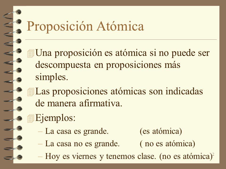 Proposición Atómica Una proposición es atómica si no puede ser descompuesta en proposiciones más simples.