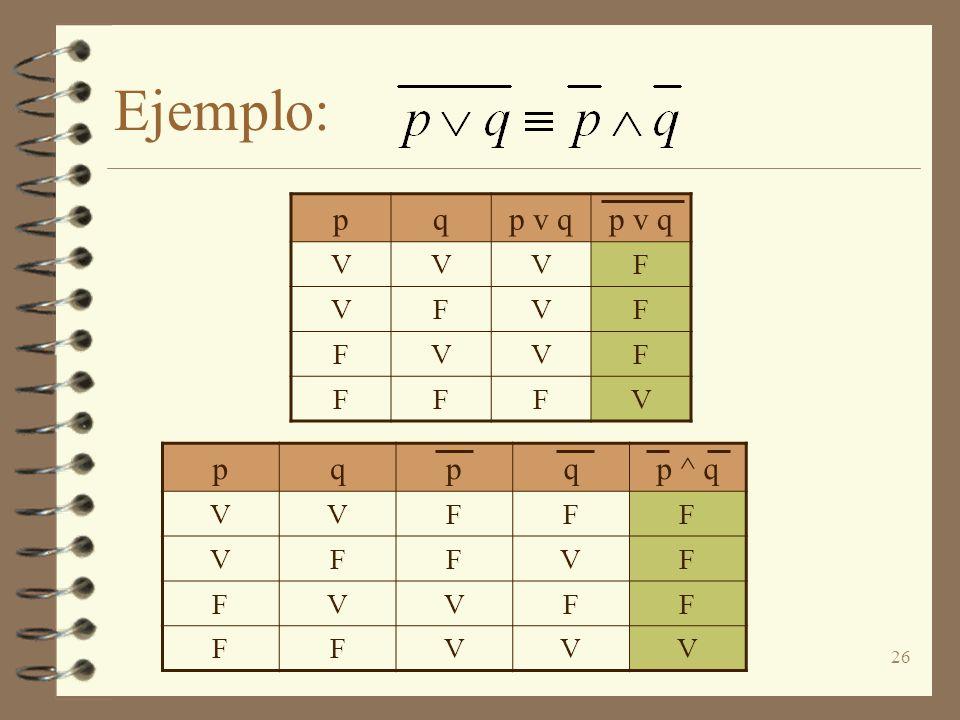 Ejemplo: p q p v q V F p q p ^ q V F