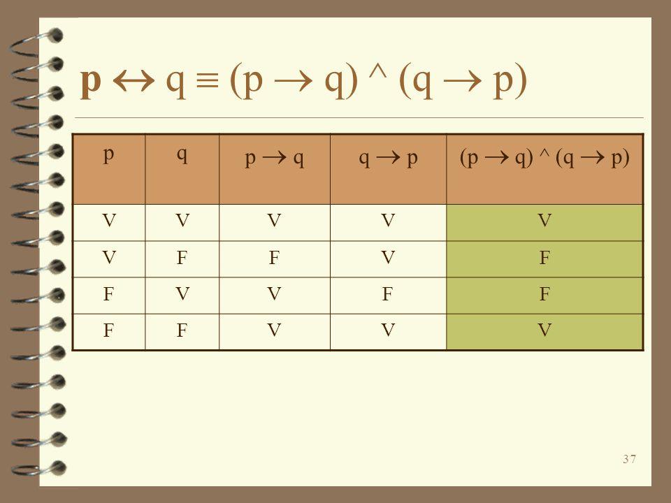 p  q  (p  q) ^ (q  p) p q p  q q  p (p  q) ^ (q  p) V F