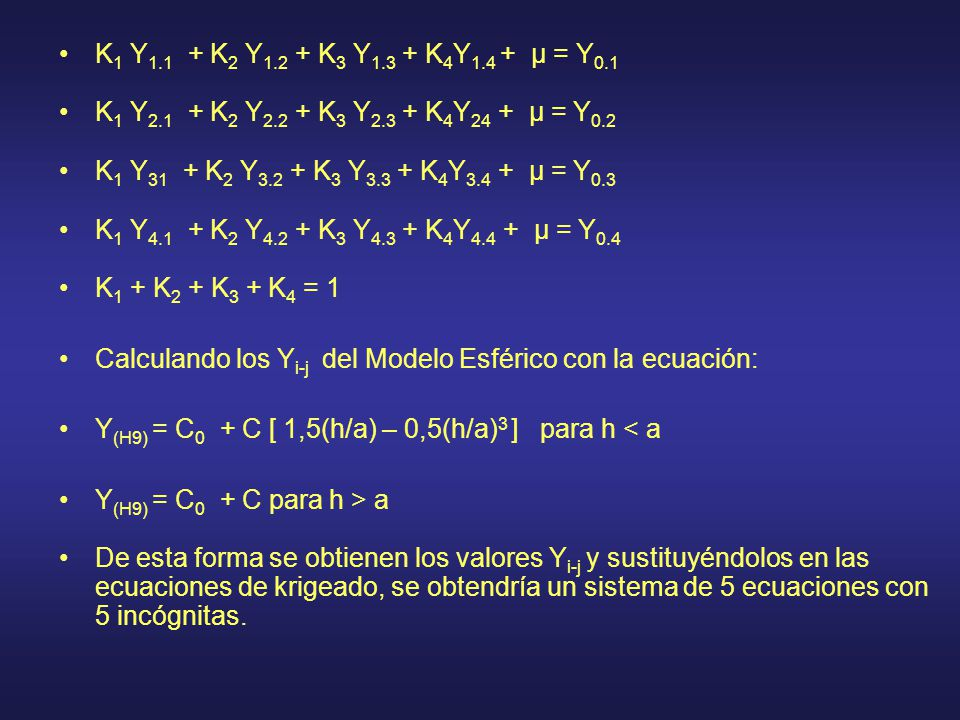 K1 Y1.1 + K2 Y1.2 + K3 Y1.3 + K4Y1.4 + µ = Y0.1 K1 Y2.1 + K2 Y2.2 + K3 Y2.3 + K4Y24 + µ = Y0.2.