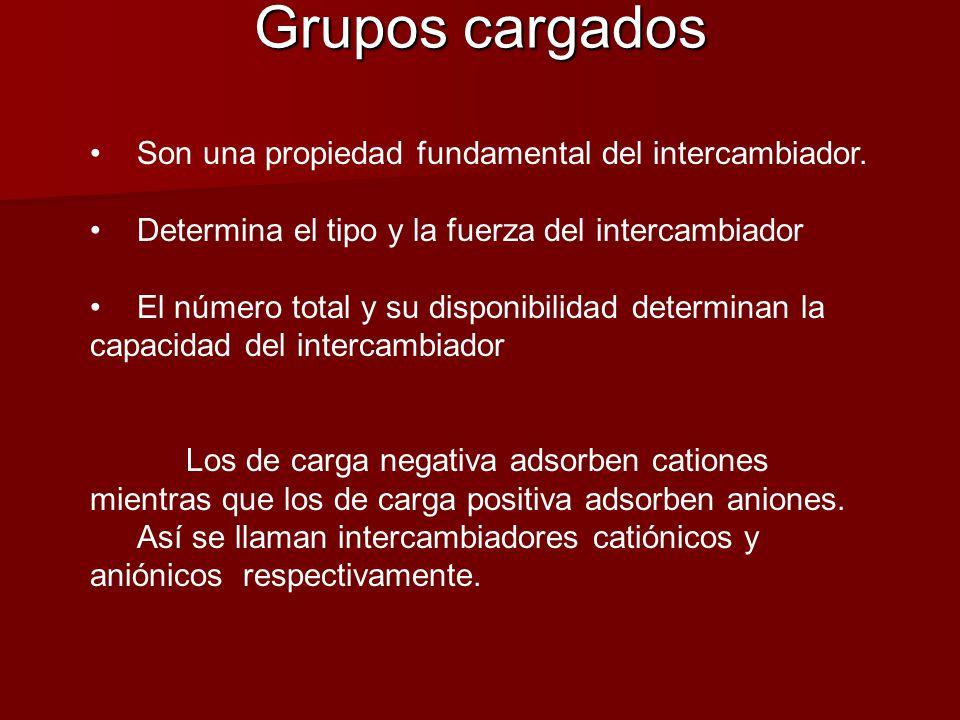 Grupos cargados Son una propiedad fundamental del intercambiador.