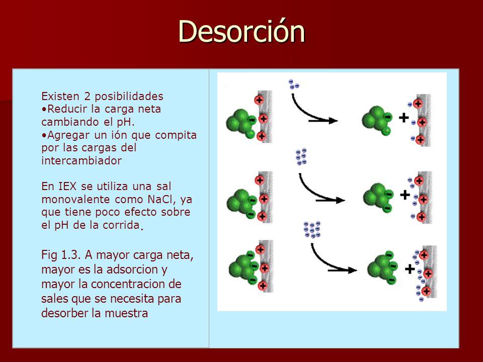 Desorción Reducir la carga neta cambiando el pH.
