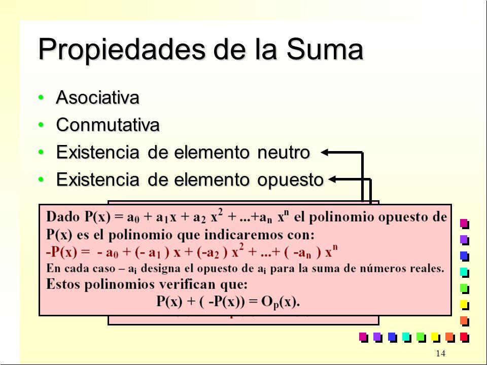 Propiedades de la Suma Asociativa Conmutativa
