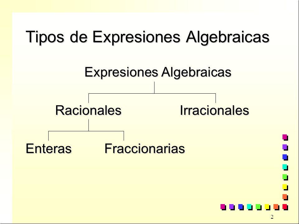 Tipos de Expresiones Algebraicas
