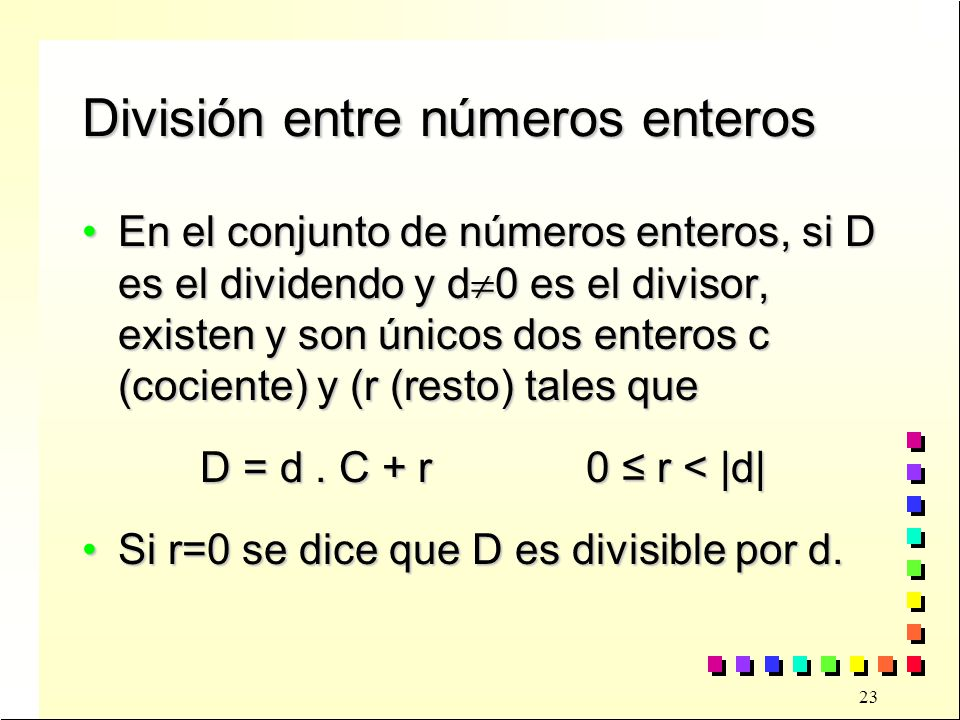 División entre números enteros