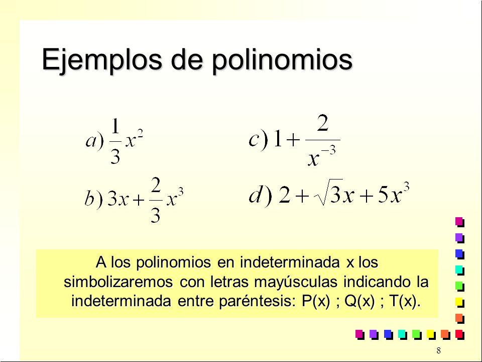 Ejemplos de polinomios