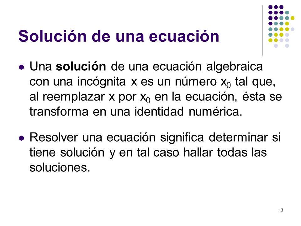 Solución de una ecuación