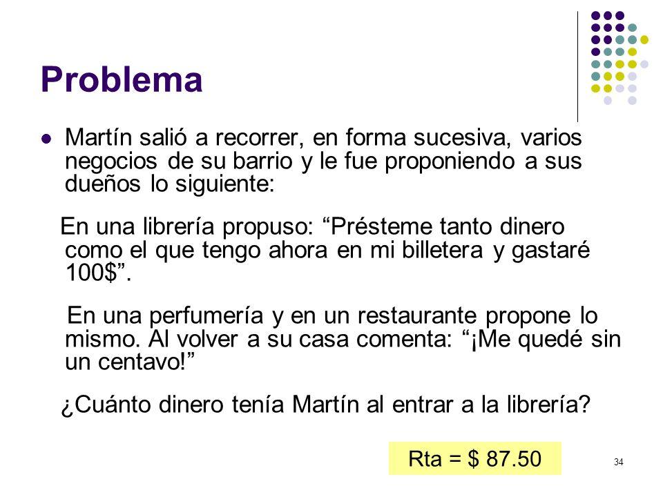 Problema Martín salió a recorrer, en forma sucesiva, varios negocios de su barrio y le fue proponiendo a sus dueños lo siguiente:
