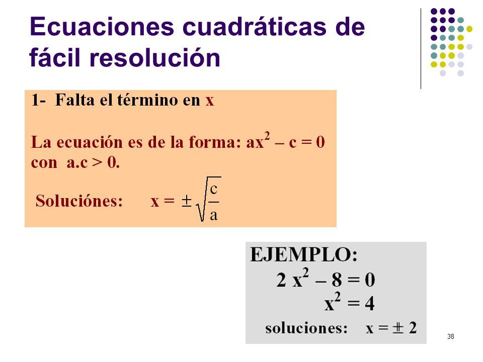 Ecuaciones cuadráticas de fácil resolución