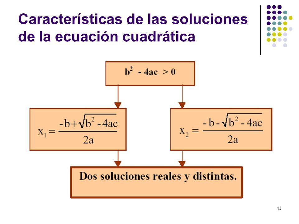Características de las soluciones de la ecuación cuadrática