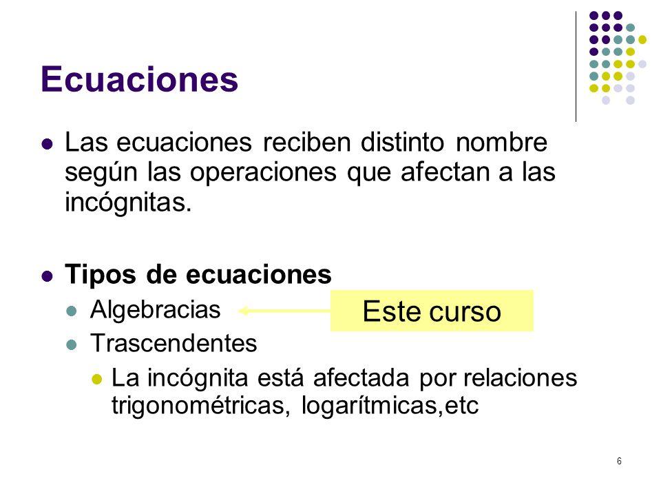 Ecuaciones Las ecuaciones reciben distinto nombre según las operaciones que afectan a las incógnitas.