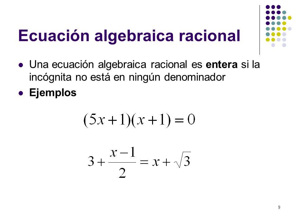 Ecuación algebraica racional