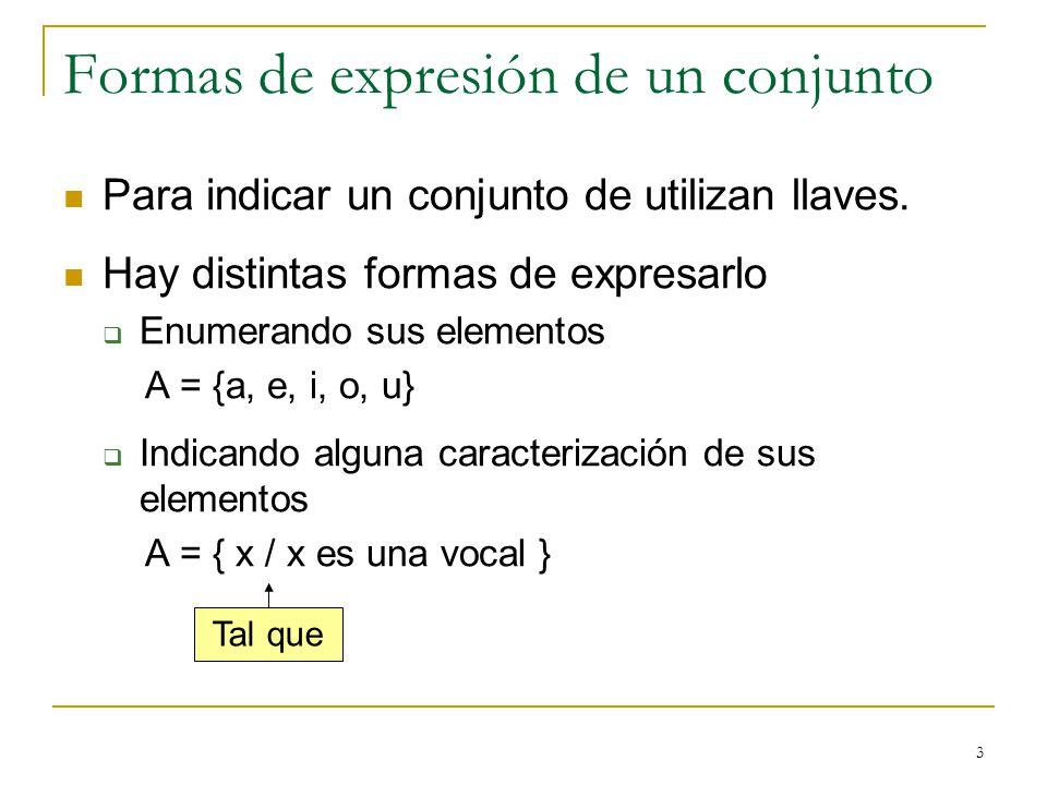 Formas de expresión de un conjunto