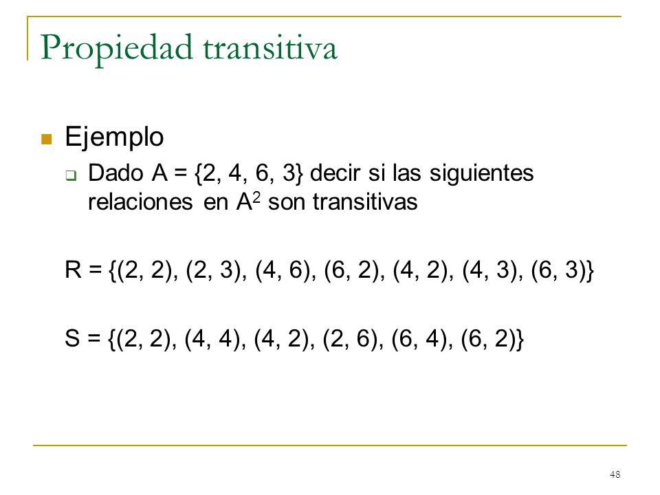 Propiedad transitiva Ejemplo