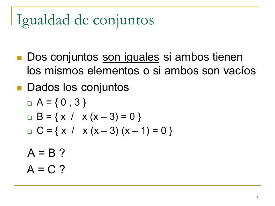 Igualdad de conjuntos A = B