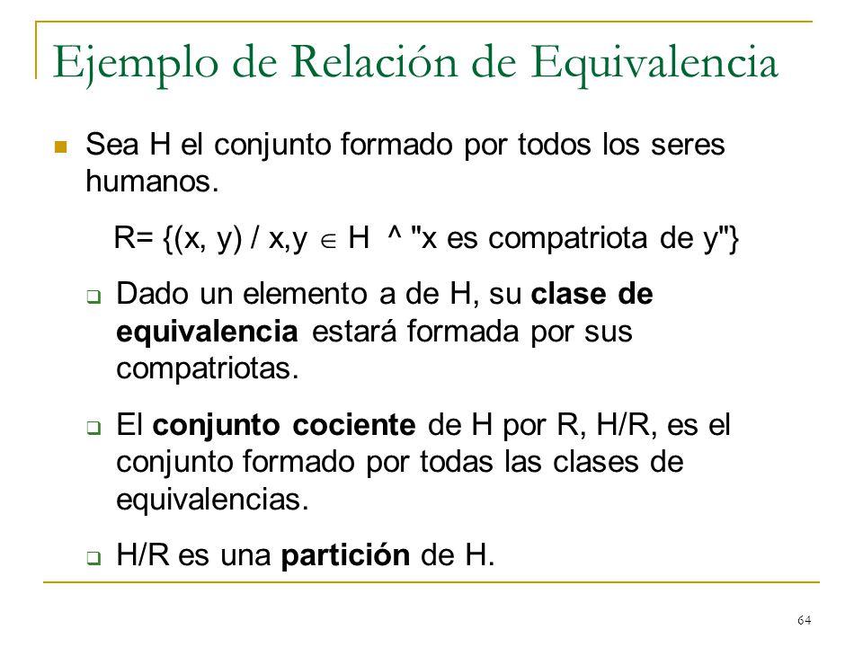 Ejemplo de Relación de Equivalencia