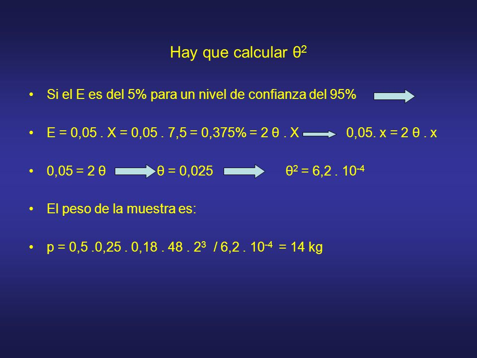 Hay que calcular θ2 Si el E es del 5% para un nivel de confianza del 95% E = 0,05 . X = 0,05 . 7,5 = 0,375% = 2 θ . X 0,05. x = 2 θ . x.