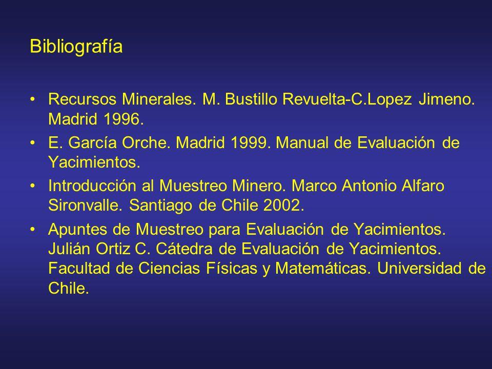Bibliografía Recursos Minerales. M. Bustillo Revuelta-C.Lopez Jimeno. Madrid 1996.