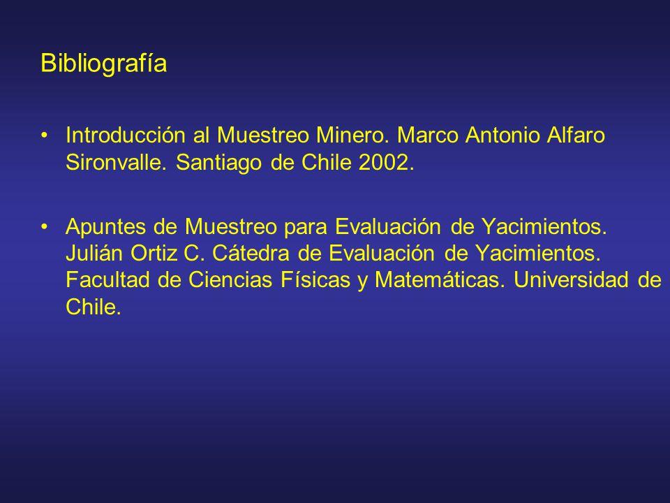 Bibliografía Introducción al Muestreo Minero. Marco Antonio Alfaro Sironvalle. Santiago de Chile 2002.