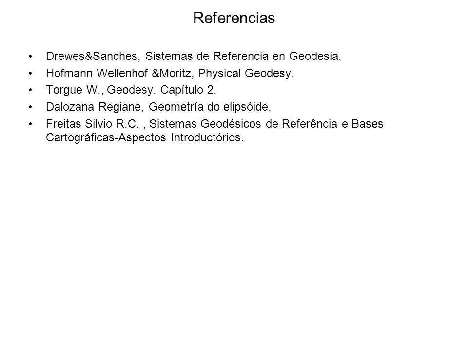 Referencias Drewes&Sanches, Sistemas de Referencia en Geodesia.