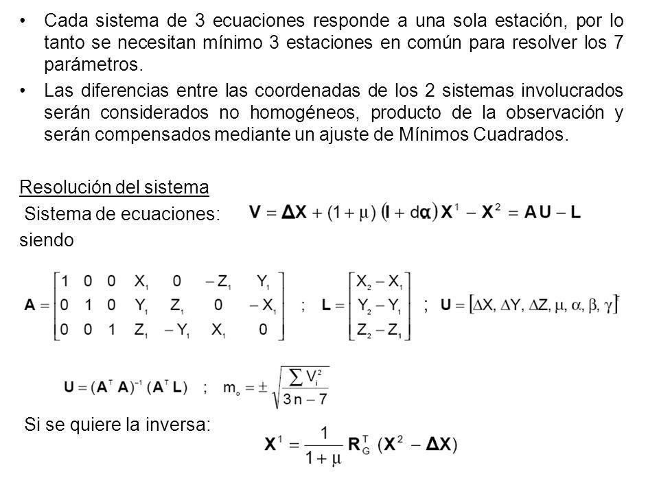 Cada sistema de 3 ecuaciones responde a una sola estación, por lo tanto se necesitan mínimo 3 estaciones en común para resolver los 7 parámetros.