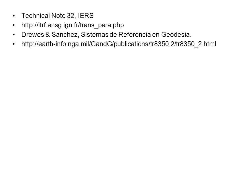 Technical Note 32, IERS http://itrf.ensg.ign.fr/trans_para.php. Drewes & Sanchez, Sistemas de Referencia en Geodesia.