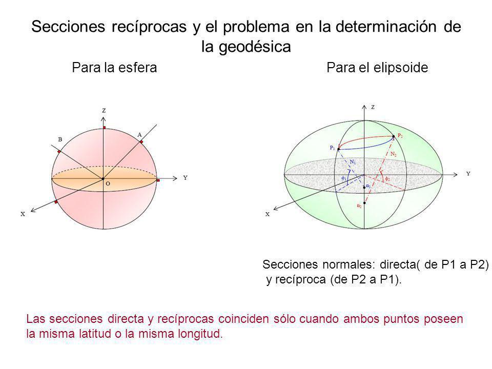 Secciones recíprocas y el problema en la determinación de la geodésica