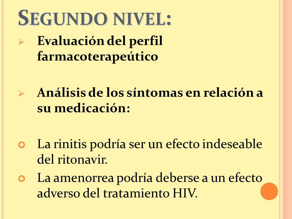 Segundo nivel: Evaluación del perfil farmacoterapeútico