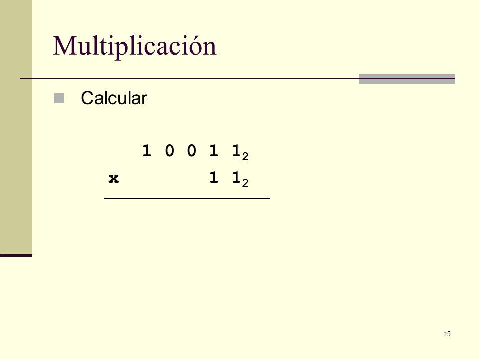 Multiplicación Calcular 1 0 0 1 12 x 1 12