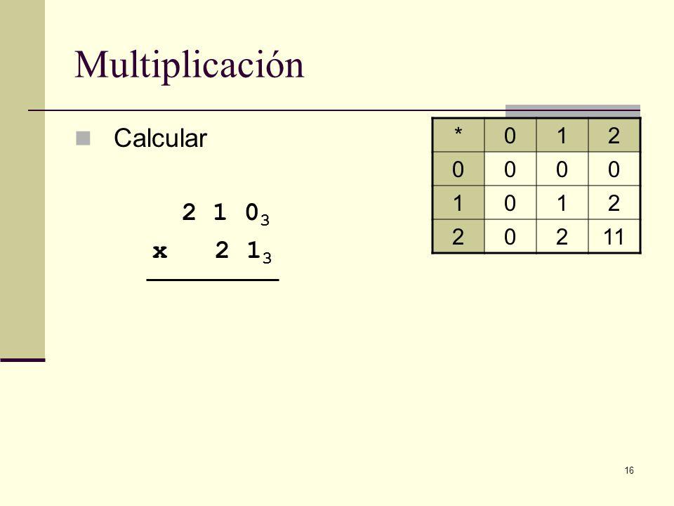 Multiplicación Calcular 2 1 03 x 2 13 * 1 2 11