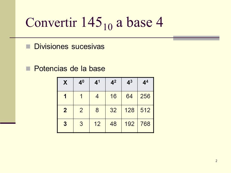 Convertir 14510 a base 4 Divisiones sucesivas Potencias de la base X