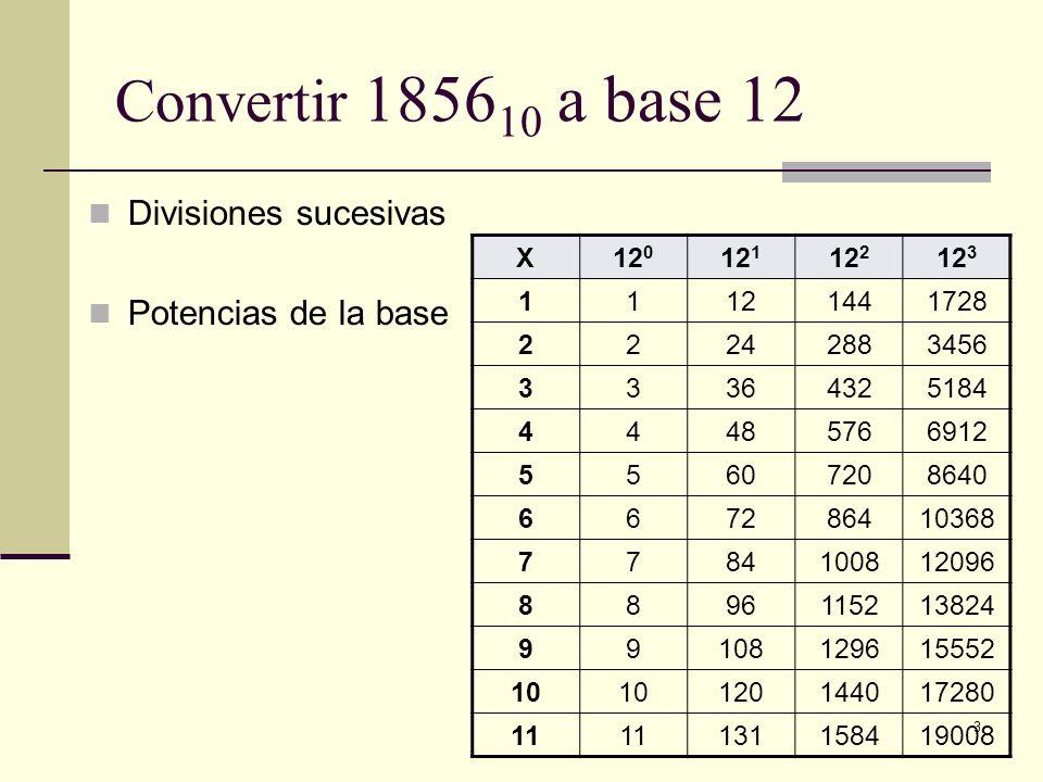 Convertir 185610 a base 12 Divisiones sucesivas Potencias de la base X