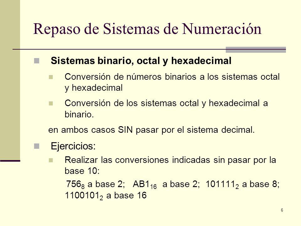Repaso de Sistemas de Numeración