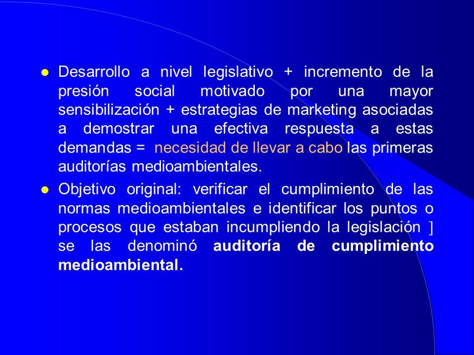 Desarrollo a nivel legislativo + incremento de la presión social motivado por una mayor sensibilización + estrategias de marketing asociadas a demostrar una efectiva respuesta a estas demandas = necesidad de llevar a cabo las primeras auditorías medioambientales.