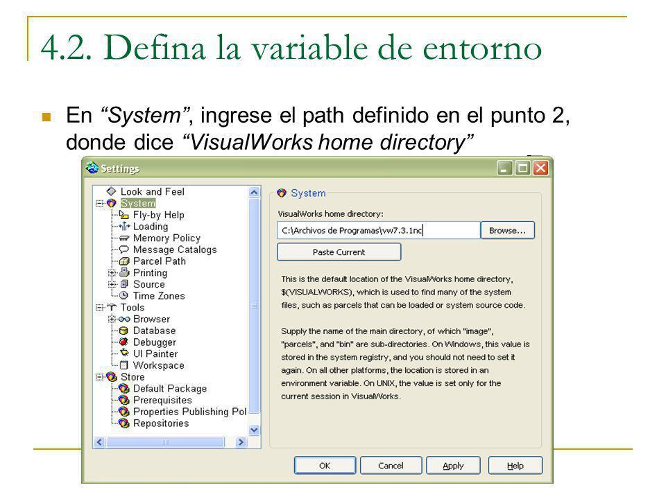 4.2. Defina la variable de entorno