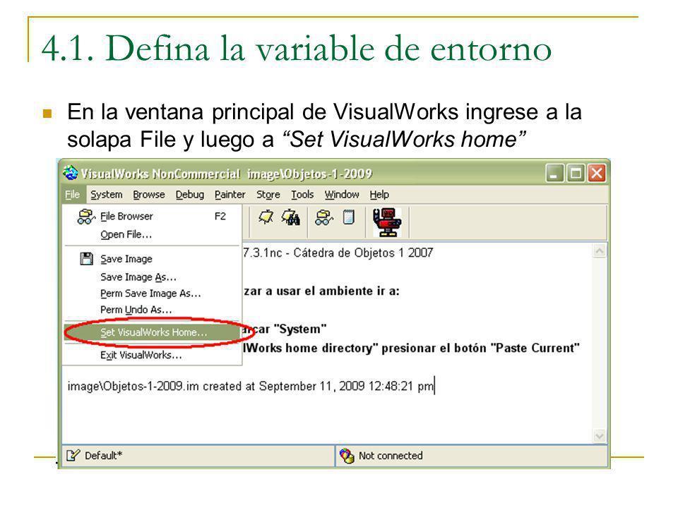 4.1. Defina la variable de entorno