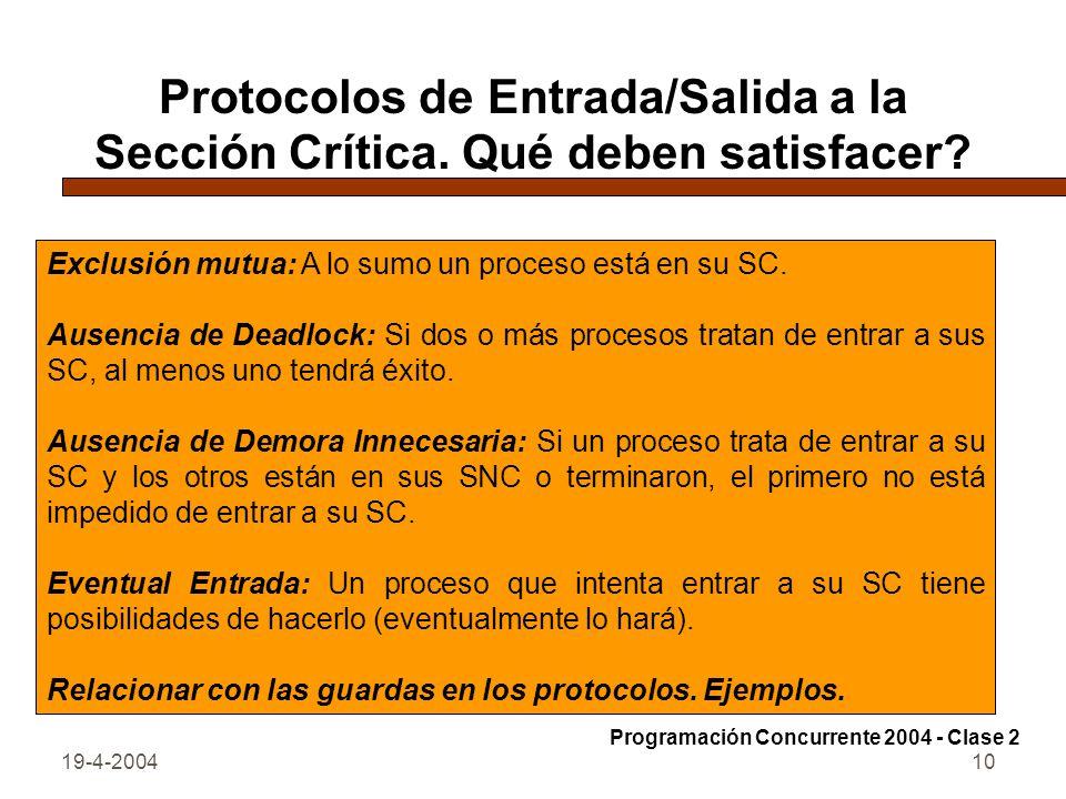 Protocolos de Entrada/Salida a la Sección Crítica. Qué deben satisfacer