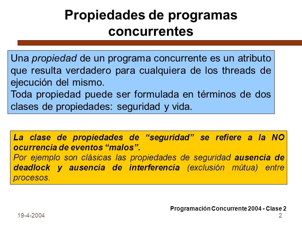 Propiedades de programas concurrentes