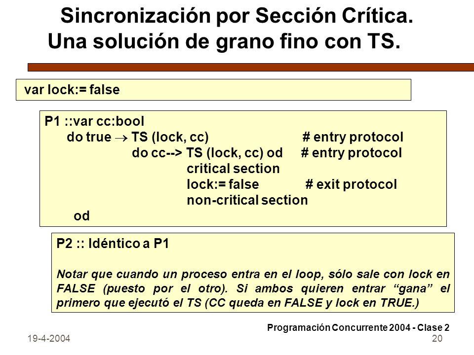 Sincronización por Sección Crítica. Una solución de grano fino con TS.