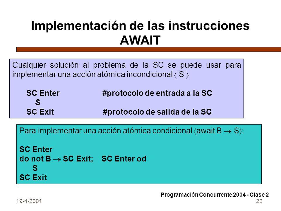 Implementación de las instrucciones AWAIT