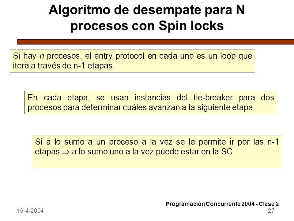 Algoritmo de desempate para N procesos con Spin locks