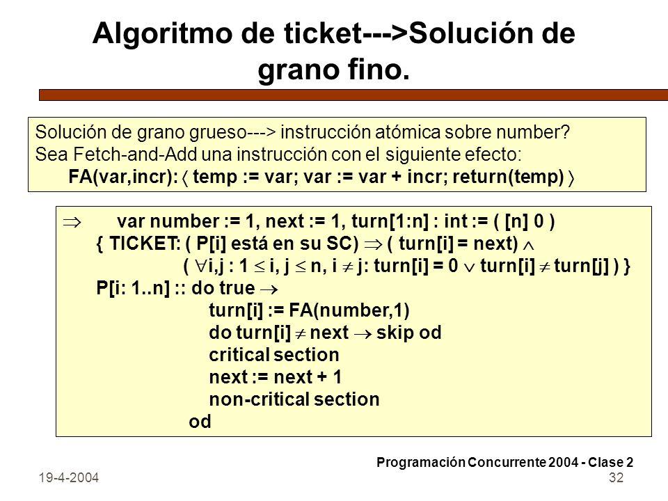 Algoritmo de ticket--->Solución de grano fino.