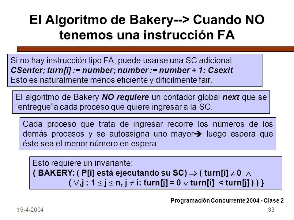 El Algoritmo de Bakery--> Cuando NO tenemos una instrucción FA