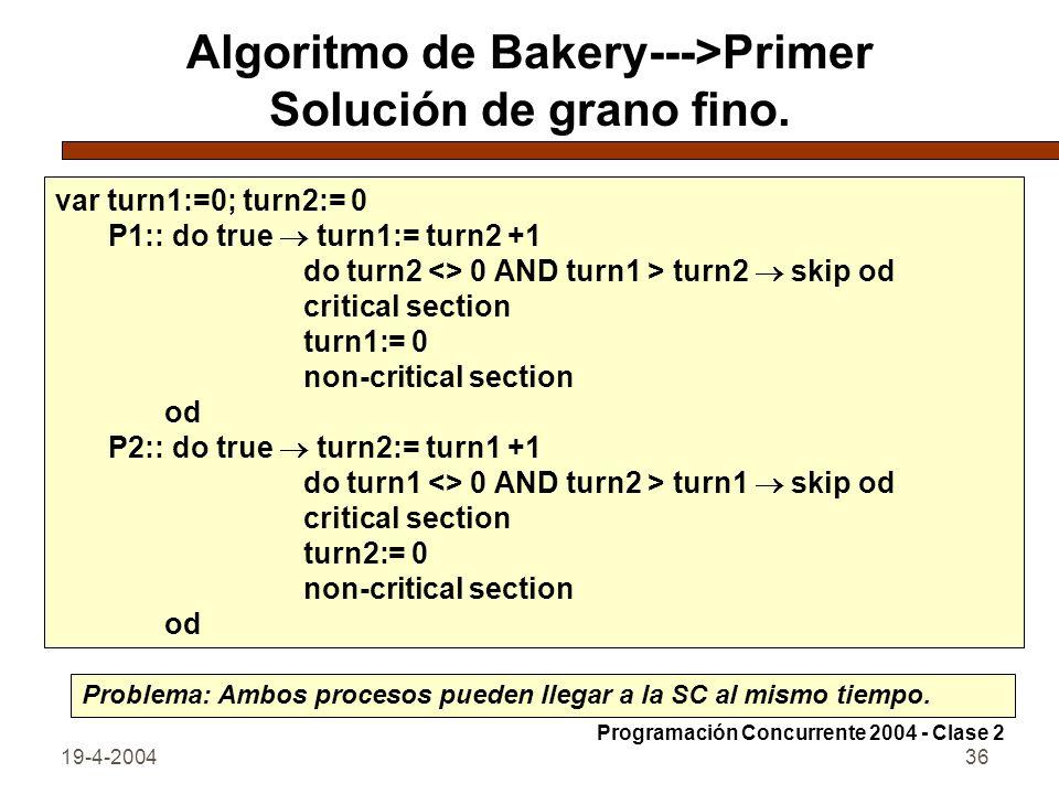 Algoritmo de Bakery--->Primer Solución de grano fino.