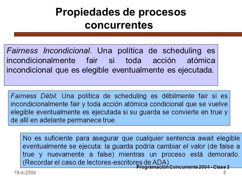 Propiedades de procesos concurrentes