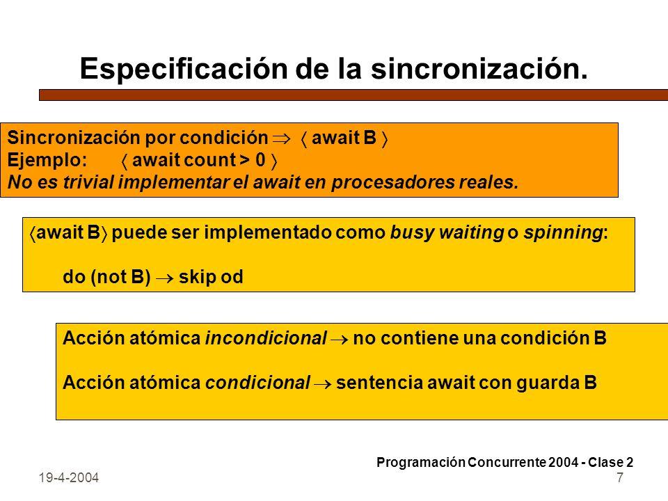 Especificación de la sincronización.