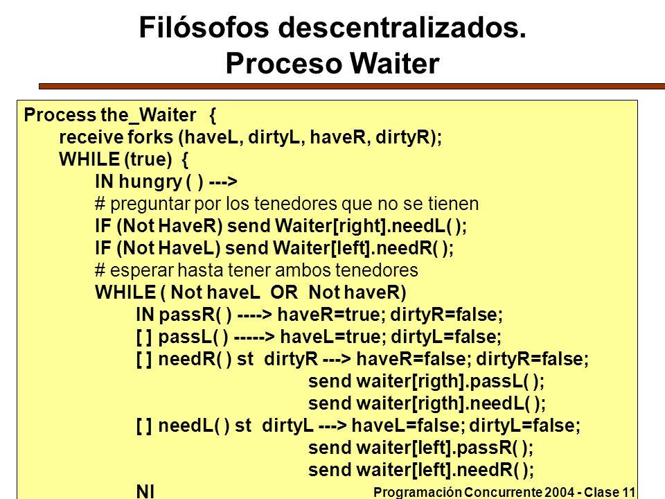Filósofos descentralizados. Proceso Waiter