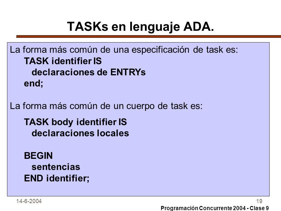 TASKs en lenguaje ADA. La forma más común de una especificación de task es: TASK identifier IS. declaraciones de ENTRYs.